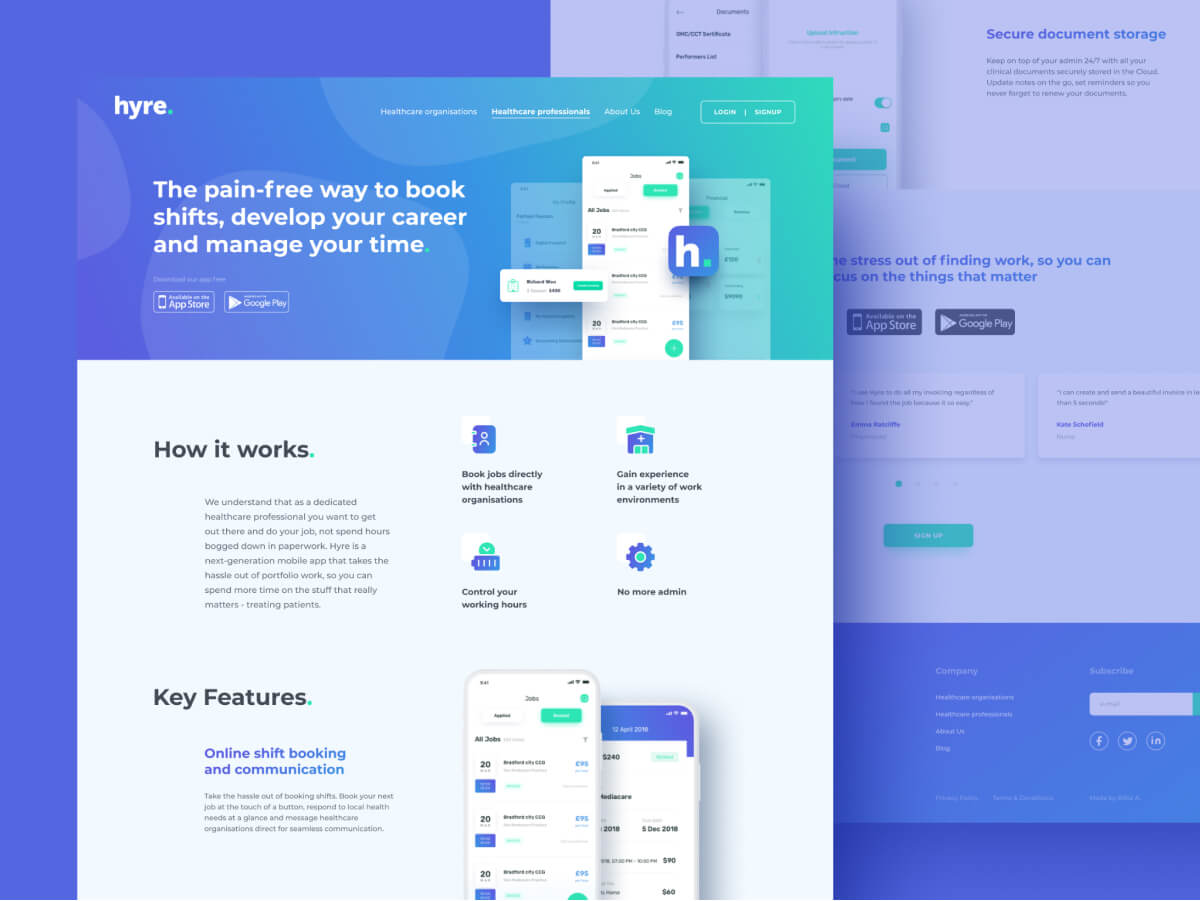 Hyre Booking Web Page Design