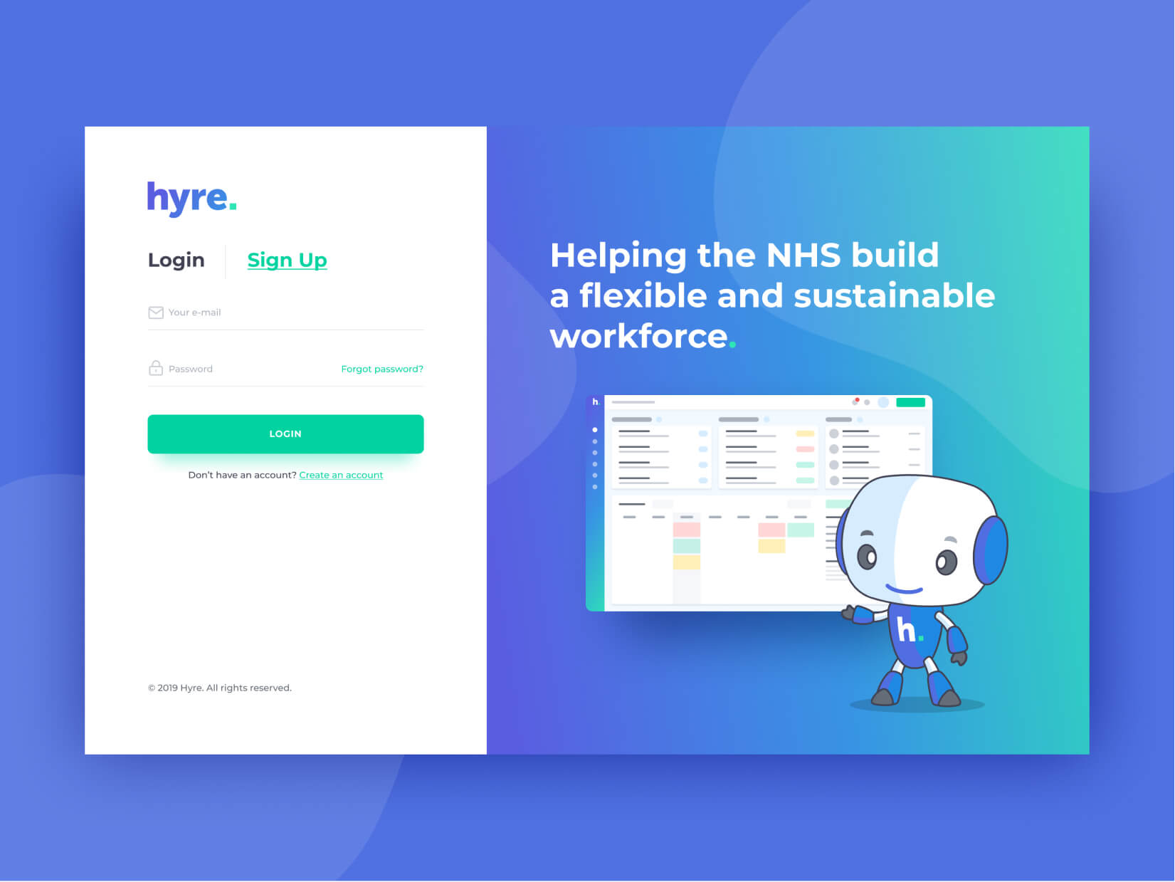 Hyre Web App Login Screen Design