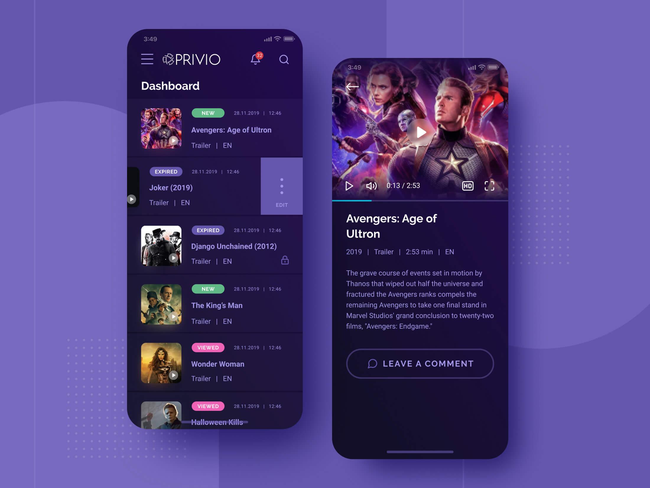 Privio Mobile App Screen Designs