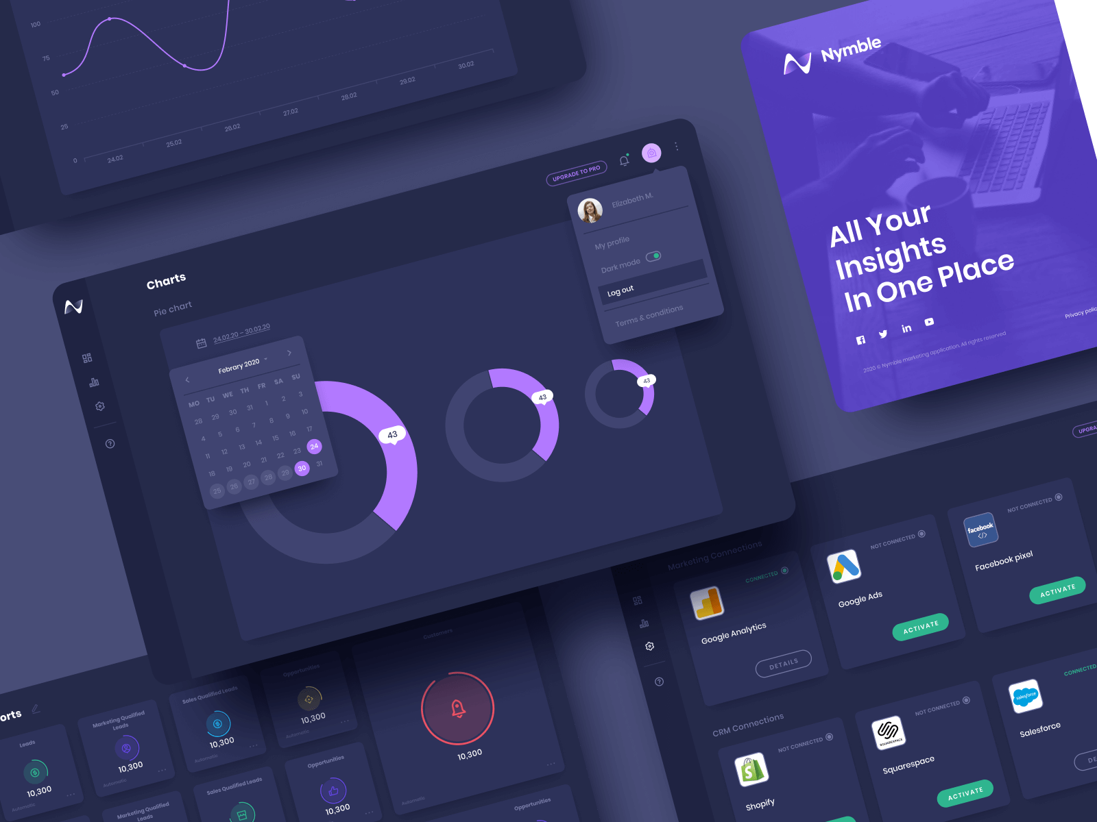 Nymble Dark Mode Web App Screen Designs