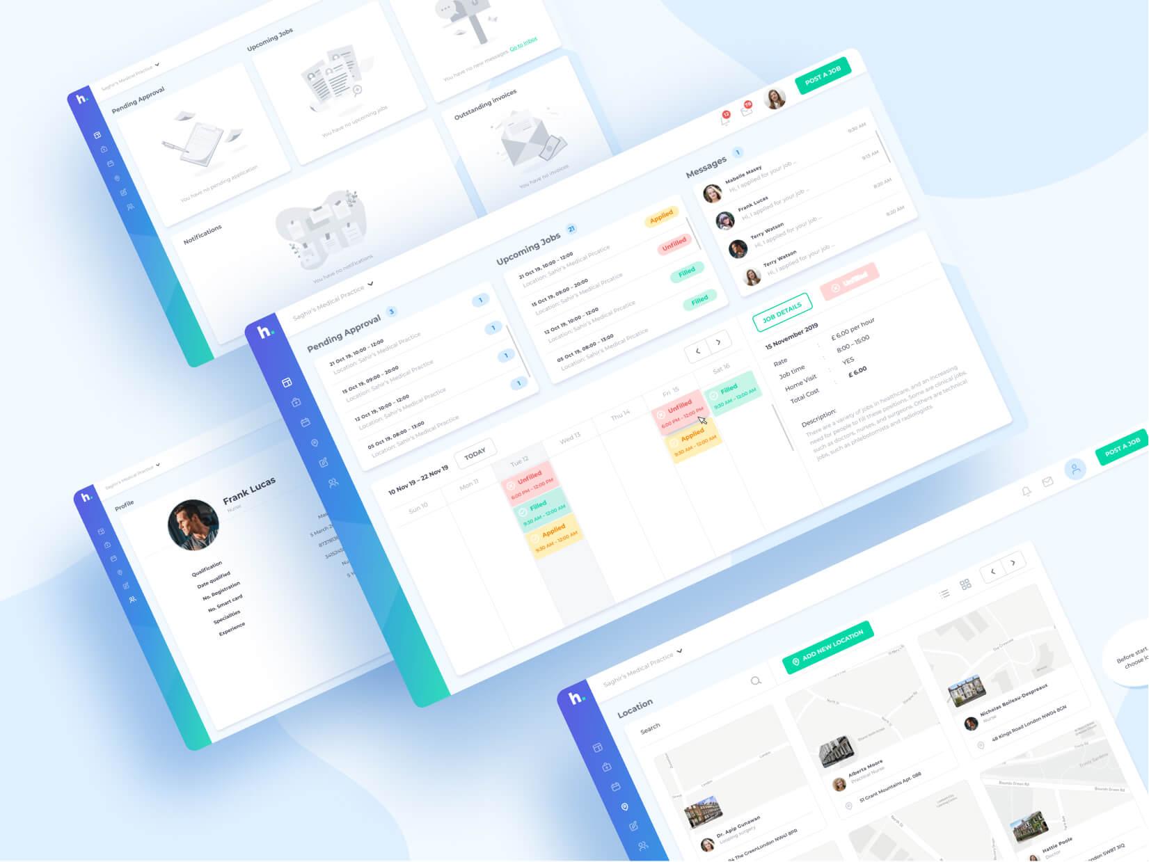 Hyre Booking Web App Screen Designs