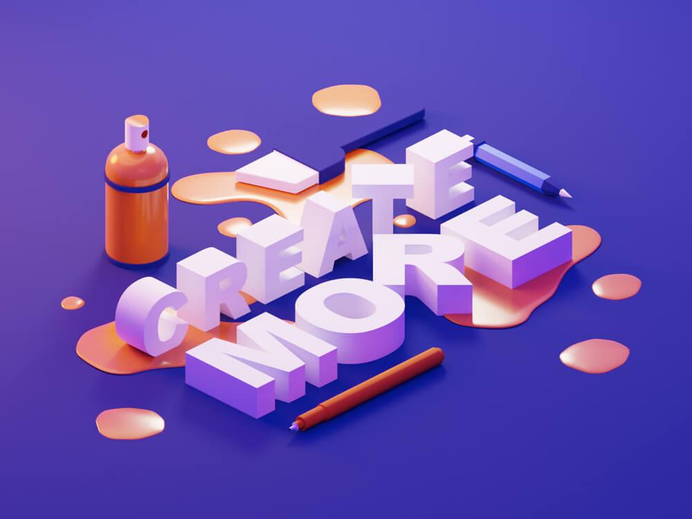 3D Typography Example 4