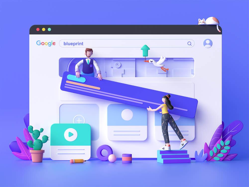 Google rankings 3D illustration